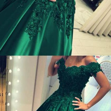 Off the Shoulder Green Prom Dress B..