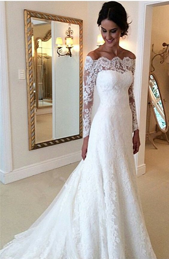 Lace Off The Shoulder Long Mesh Sleeves Floor Length Mermaid Wedding Dress Featuring Train