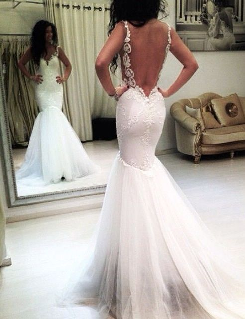 Elegant Straps Mermaid Wedding Dress Backless Dresses Modest