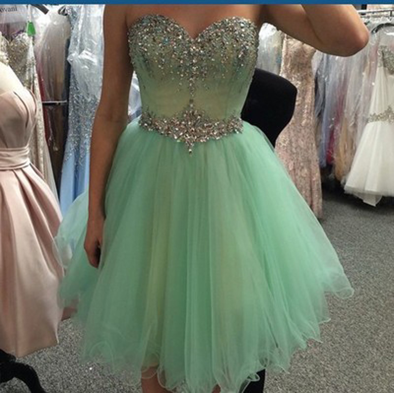 A Line Sweetheart Mint Tulle Homecoming Dresses Short Prom Dress,Rhinestones  Fluffy Skirt Short Homecoming Dresses, Custom Made Short Prom Gowns  Cocktail ...