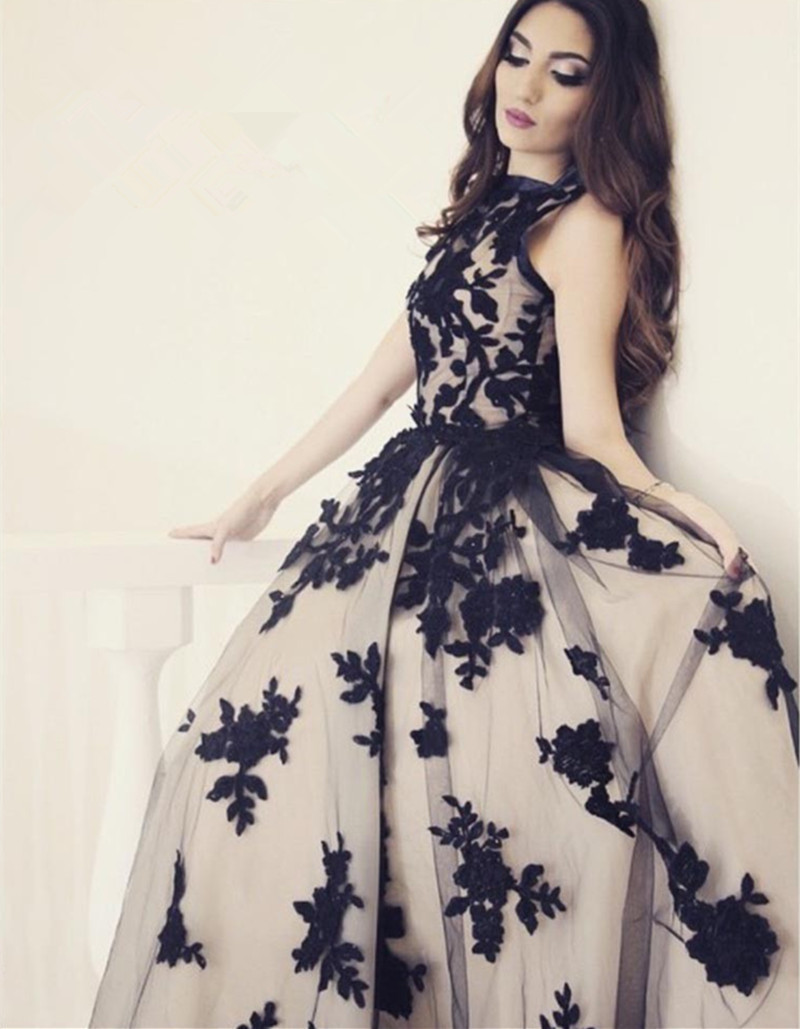 df9d1858b2c Romantic A-Line Prom Dresses High Collar Applique Sleeveless Princess Guest  Gowns Long Quinceanera Dresses