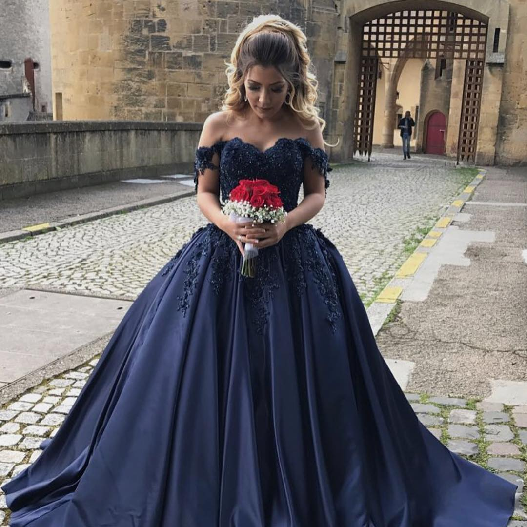 Navy Blue Prom Dresses,Ball Gowns Prom Dresses,Off The Shoulder Long ...