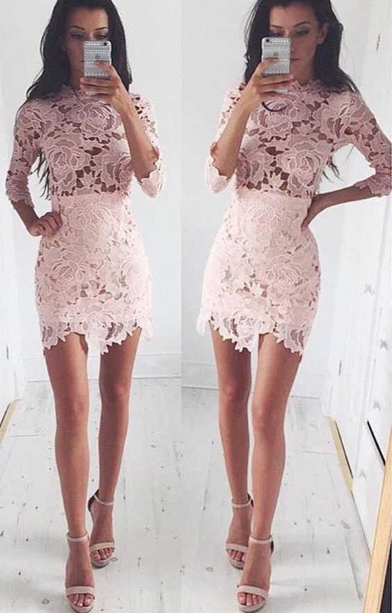 fef4237d8a9 High Neck Lace Short Dress