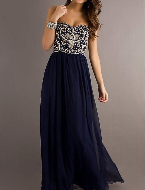 Blue Sweetheart Chiffon Prom Dresses