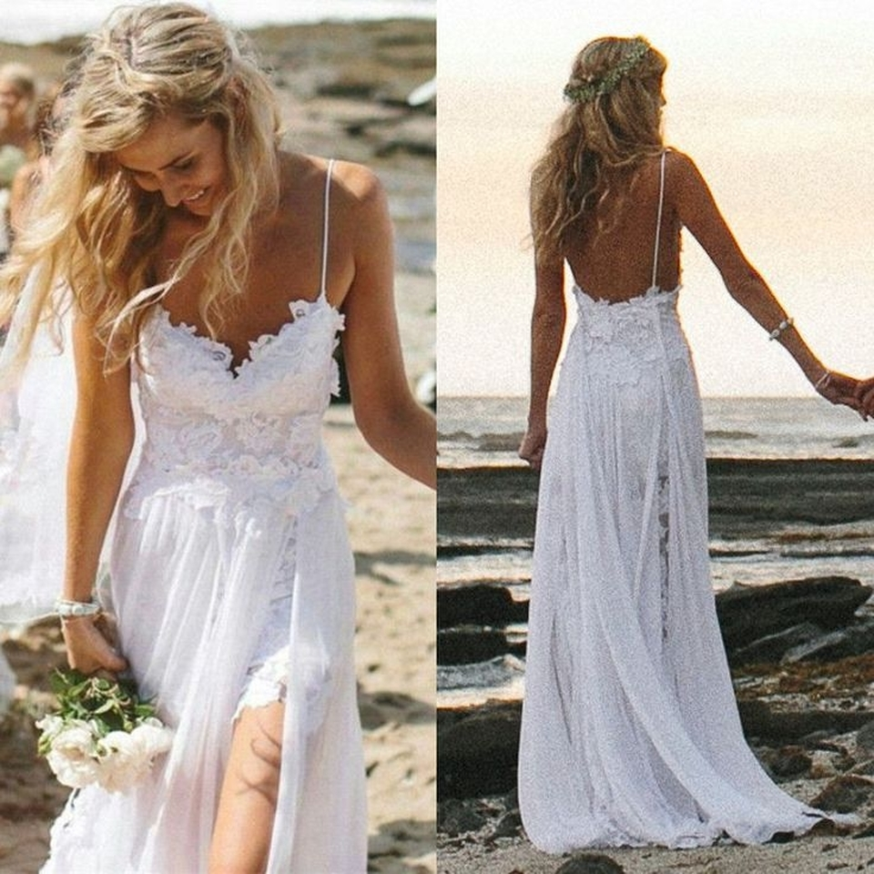 Wedding Dress Dresses Beach Summer Spaghetti Straps Backless Lace