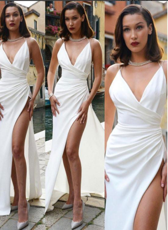 7b6171ecee51 Sexy White V Neck Long Prom Dress
