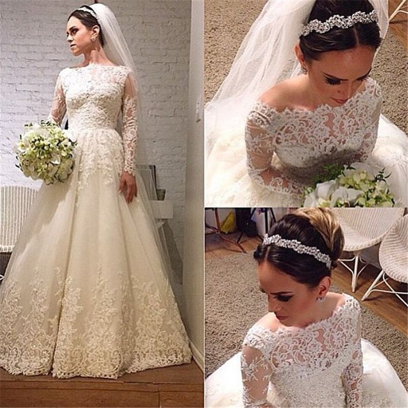 Wedding Dress,Wedding Dresses,Long Sleeve Wedding Dress, Lace A Line Wedding Dress,Elegant Lace Long Sleeve Bridal Gown,Long Sleeve Lace Wedding Dress,A Line Elegant Lace Bride Dress