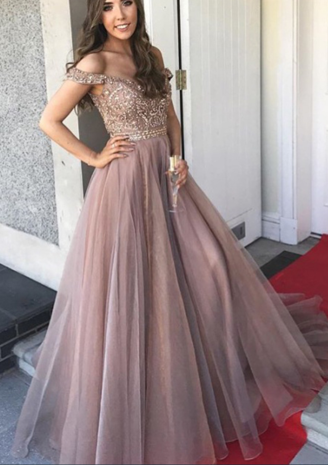 Off-shoulder Prom Dress With Beading