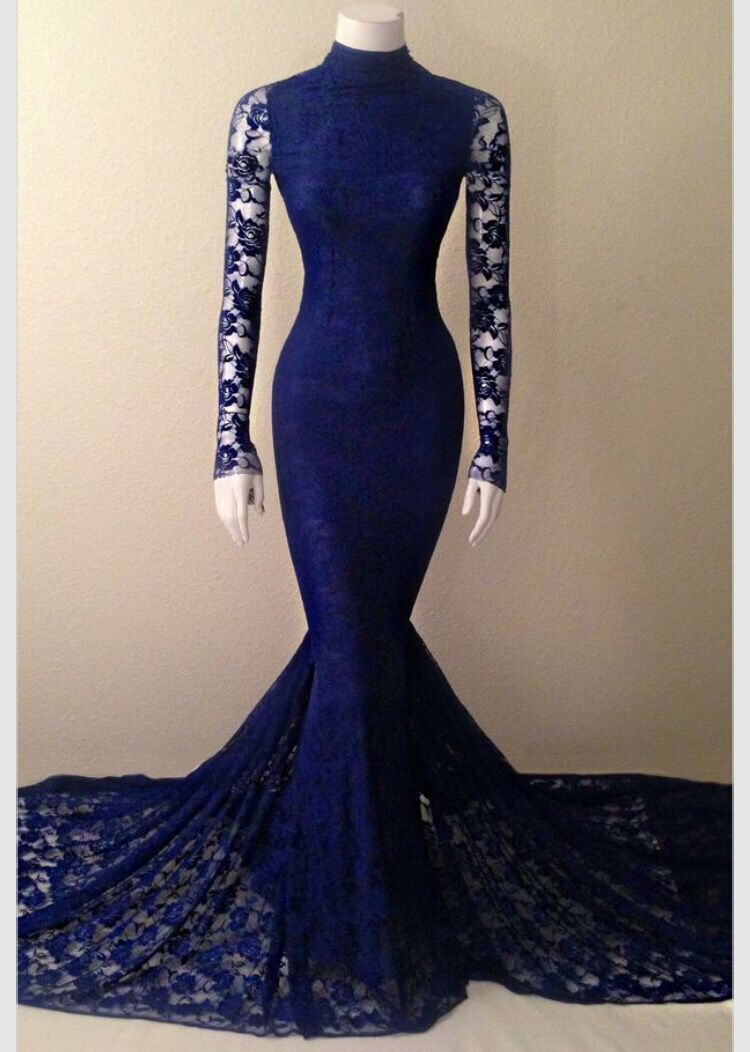 Navy Blue Soft Lace Long Sleeves Mermaid Evening Gown With High Neck ... 8d5c50696