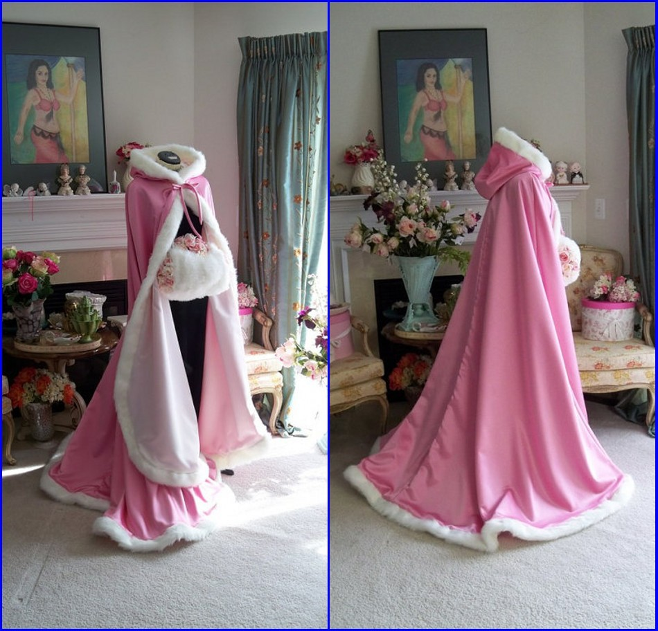 af8b4ed8871ab Pink Color Faux Fur Christmas Bridal Cape Wedding Cloaks Hooded Party Wraps  Jackets Wraps For Wedding Formal Party