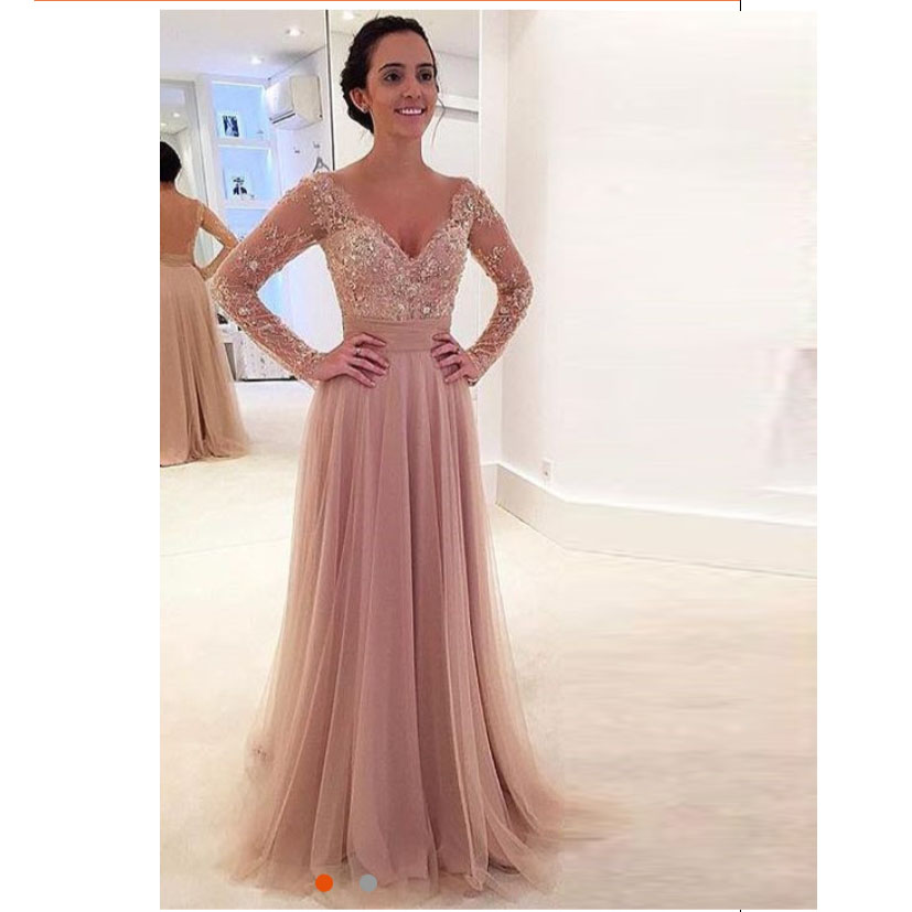 4a0c77cb77 2019 Nude Tulle Long Sleeves V Neck Prom Dress With Sheer Back on Luulla