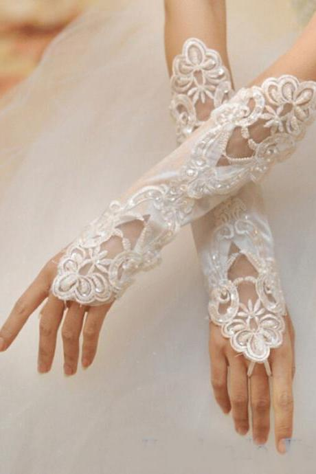 Bridal gloves 2017 Wedding Accessories Long Beading Lace Fingerless Wedding Gloves