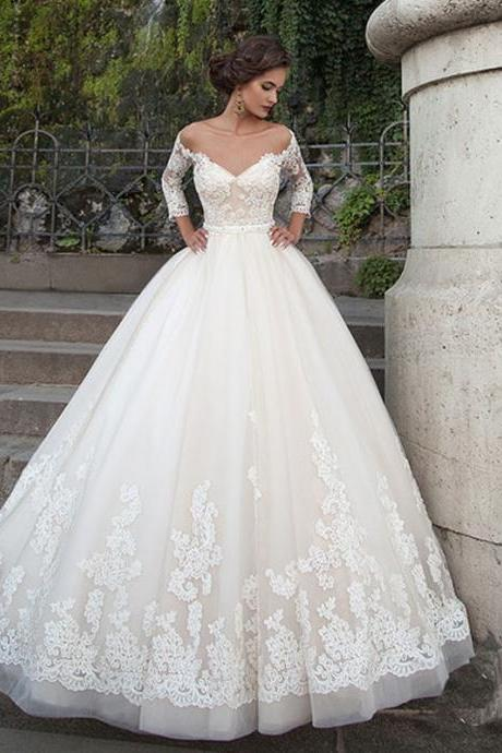 2017 New Hot Three Quarter Sleeve Vintage Lace Applique Sweetheart Lace Up Back A-line Wedding Dresses