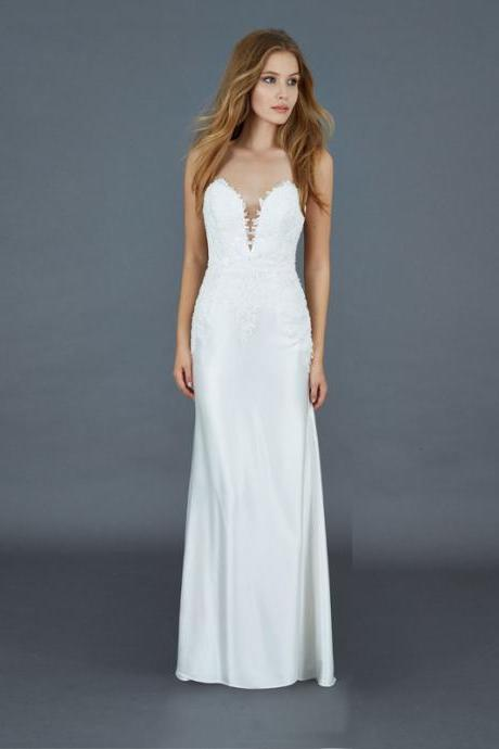 Strapless Plunging Sweetheart Satin Sheath Wedding Dress with Lace Appliqués, Open Back and Sweep Train