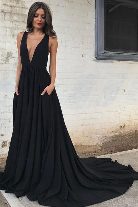 prom dresses 2017, long prom party dresses, elegant deep v-neck evening dresses, backless fashion dresses with train