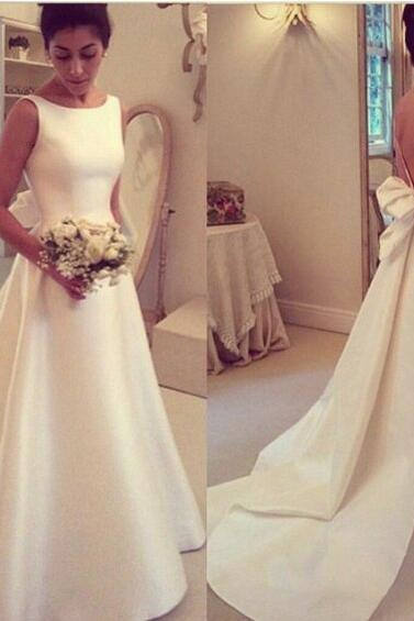 Elegant Satin A-Line Wedding Dress,With Bow Wedding Dress,Backless Bridal Gowns,Round Neck Wedding Dress