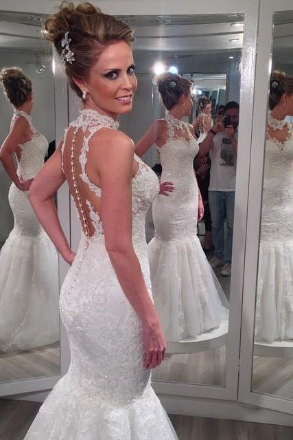 High Neck Mermaid Appliques Lace Wedding Dress,See Through Back Long Mermaid Bridal Dress,Simple Off The Shoulder Wedding Dress for 2017
