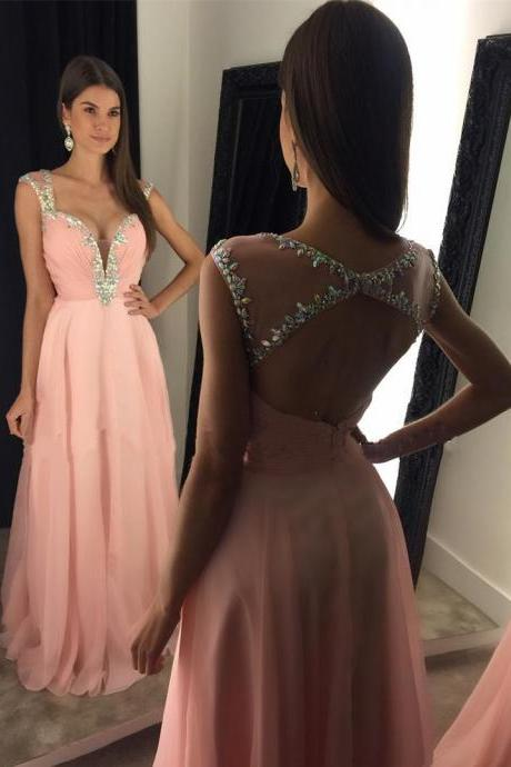 Sexy Open Back A-Line Prom Dress,Pink Chiffon Beading Crystal Prom Dress,Sweetheart Cap Sleeve Prom Dresses