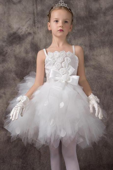 Girl's Peformance Dresses 2015 White Tulle Ball Gown Spaghetti Flower Girl Dresses Gowns Flowers Layers Dress Knee Length