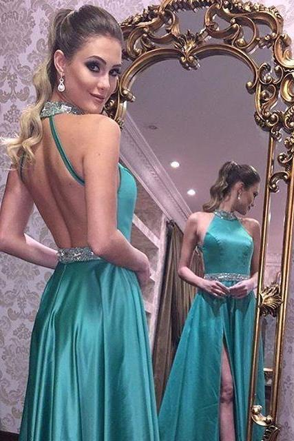 2017 Halter Beading Prom Dress, Sexy Prom Dresses, Green Backless Prom Gown, Long Party Dress, Sexy Side Split Prom Dress, Open Back Evening Dress, Woman Dresses