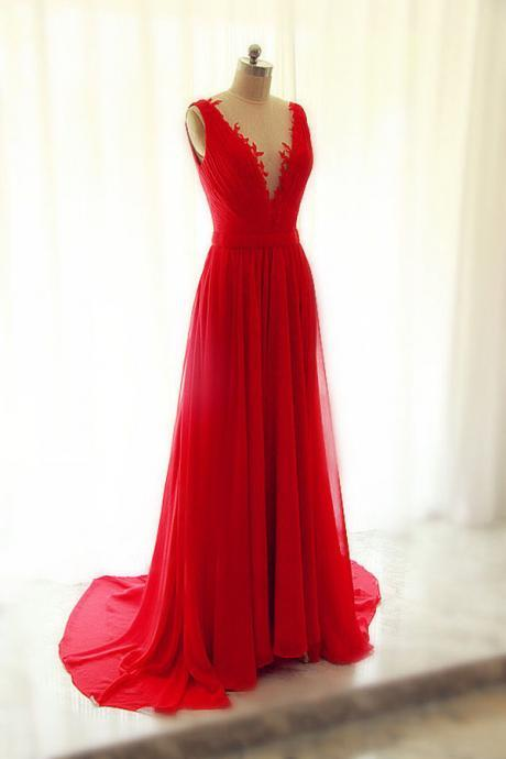 Beautiful Red Chiffon Long V-neckline Handmade Evening Gowns with See Through Tulle, Red Party Dresses, Prom Gowns