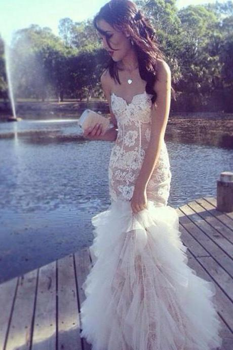 Sexy Mermaid Wedding Dresses, Sweetheart Appliques Lace Tulle Bridal Dress, See Through Wedding dress