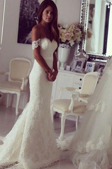 Lace Off-The-Shoulder Sweetheart Floor Length Mermaid Wedding Dress