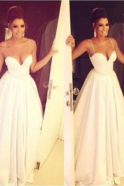 White Wedding Dresses,Long Wedding Gown,Ruffled Wedding Gowns,Satin Bridal Dress,Long Wedding Dress,Simple Brides Dress With Spaghetti Straps