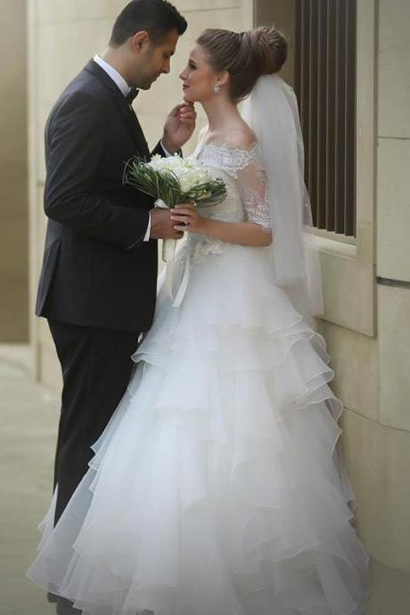 Cheap wedding dresses 2017,Modest Country Wedding Dresses 2017 Off Shoulder Half Lace Sleeves Tired Skirt Bridal Wedding Gowns White Organza Bride Dress Top Quality