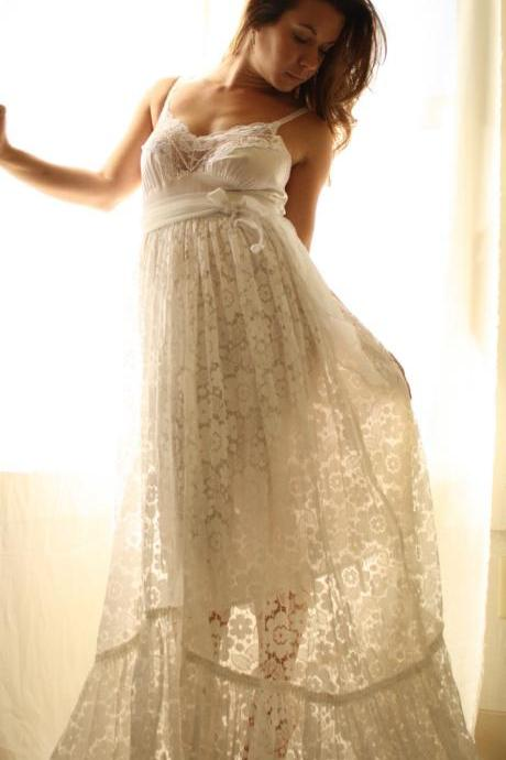 Rustic Romance Beach Wedding Gown In Vintage lace