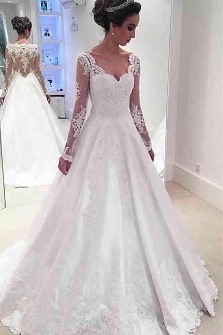 Country wedding dresses and bridal gowns luulla lace appliqus long mesh sleeves sweetheart floor length wedding gown featuring illusion open back junglespirit Images