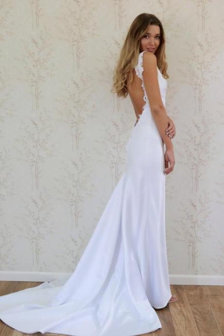 Backless Fit to Flare Satin Beach Wedding Dress Boho Bridal Gown with Lace Appliques
