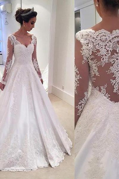 Wedding Dress Wedding Gown Bridal Dress Bridal Gown Long Sleeve Wedding Dress See Through Back Wedding Dress A-line Weeding Dress Lace Wedding Dress