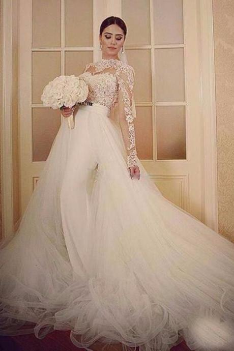 2017 long sleeves lace ball gown wedding dresses removable skirt 2017