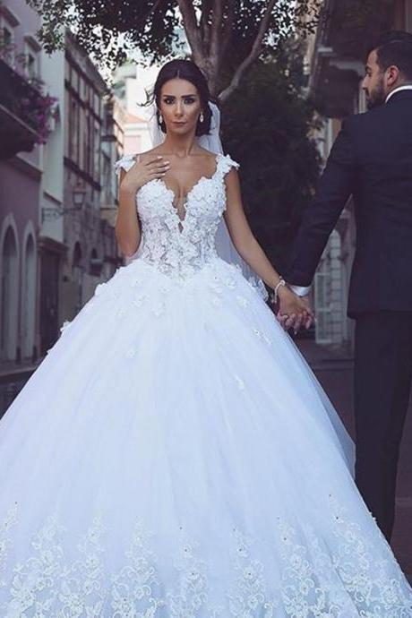 Luxury Ball Gown Lace Wedding Dresses