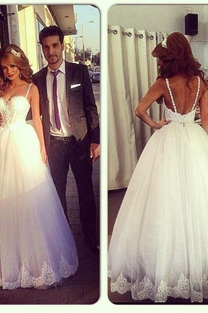Charming White Wedding Dress ,Spaghetti Straps Sexy Tulle Wedding Gown Dress