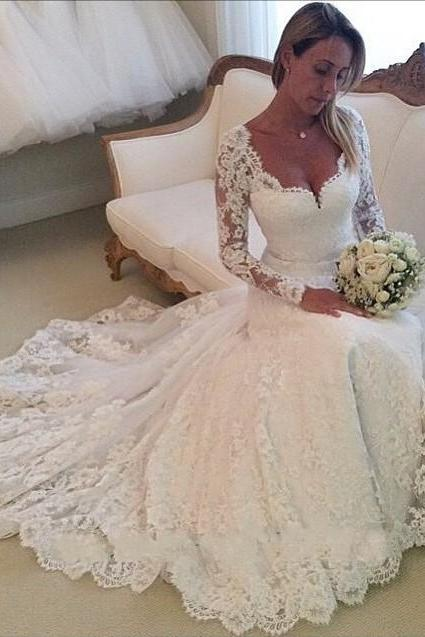 Charming White Wedding Dress with Full Sleeve,Lace Wedding Gown Dress