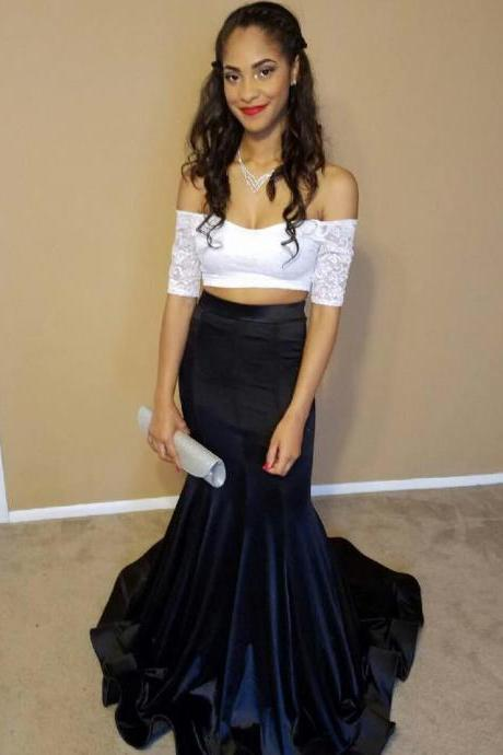 Mermaid Prom Dress,,Two Piece Evening Dress,Long Evening Gown,Formal Dress
