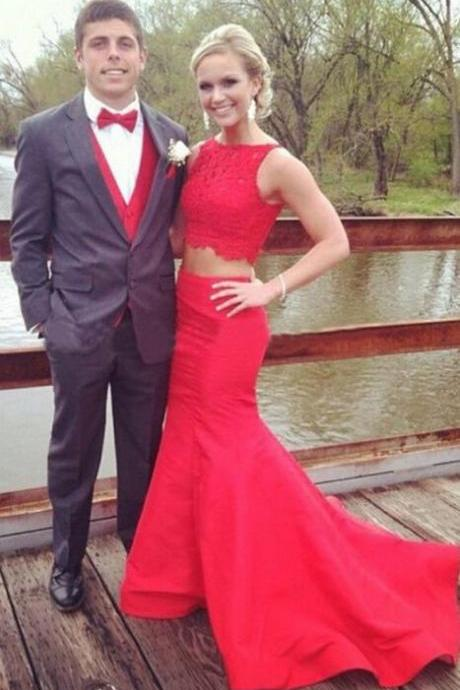 Red Prom Dresses,Evening Dress,2 piece Prom Dress,Prom Dresses,Charming Prom Gown,Cheap Prom Dress,2 pieces Evening Gowns for Teens