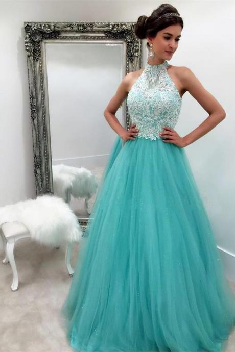 Charming Prom Dress,High-Neck Prom Dress,Tulle Prom Dress,Appliques Evening Dress