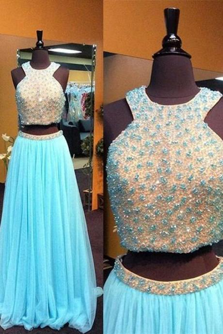Charming Prom Dress,Two Pieces Prom Dress,Tulle Prom Dress,Beading prom Dress,A-Line Evening Dress