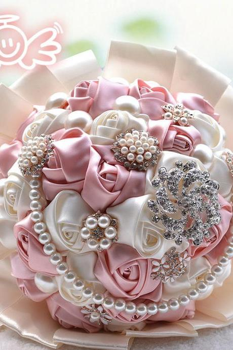 Luxury Gorgeous Wedding Bridal Bouquets Elegant Pearl Bride Bridesmaid Wedding Bouquet Crystal Sparkle Customized