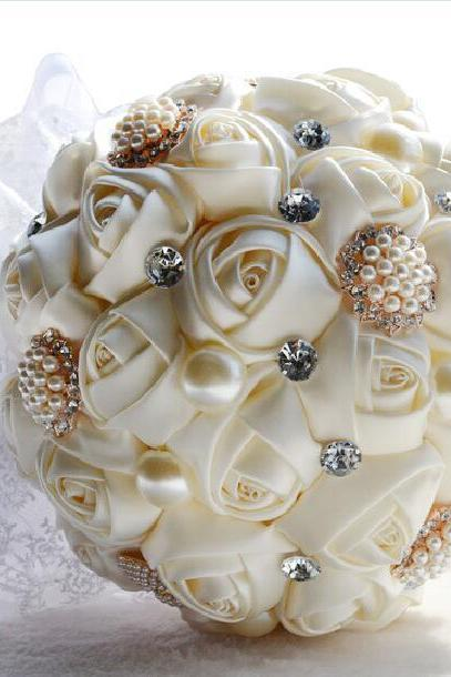 Gorgeous Wedding Flowers ,Bridal Bouquets, Artificial Wedding Bouquet, Crystal Sparkle Pearls 2017 buque de noiva