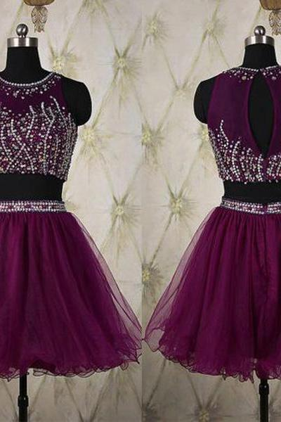 Grape Purple Two Pieces Homecoming Dresses,High Neck Mid Section Short Homecoming Dresses,Rhinestones Crystals Bodice Short Prom Dresses ,Mini Length 2 Pieces Prom Dresses,Short Prom Gown,Homecoming Dresses 2017