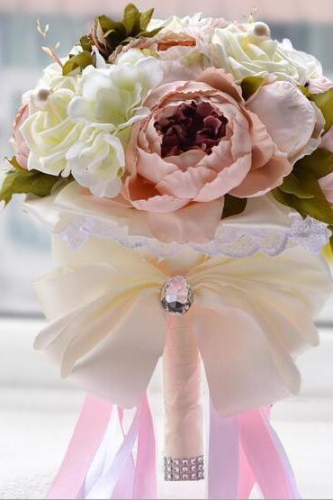 Artificial Bruidsboeket Wedding Bouquet for Brides Ribbon Flower Girl Bouquet 2017