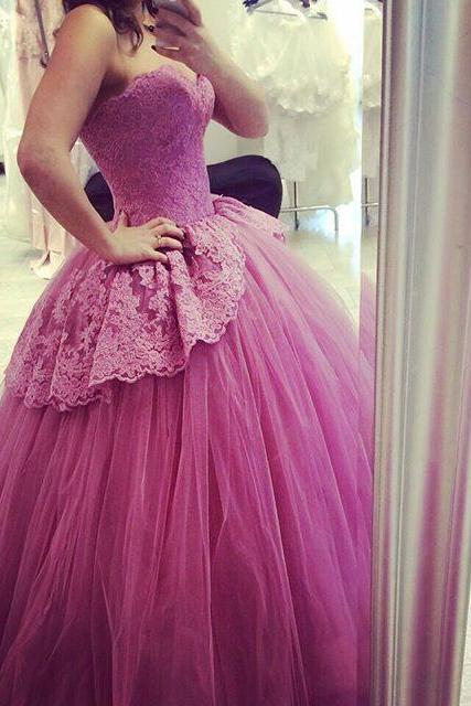 2017 Evening Dresses New Arrival Cheap Elegant Ball Gown Sweetheart Lace Tulle Formal Long Prom Party Dress Gown Abendkleider
