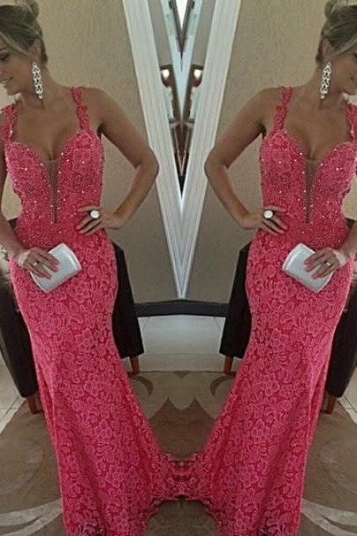 2017 Custom Made High Quality Prom Dress,Charming Prom Dress,Lace Prom Dress,V-neck Prom Dress,Mermaid Prom Dress