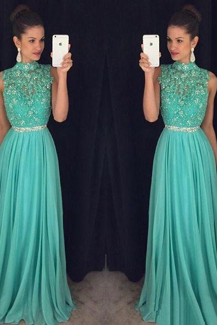 Gorgeous Beading Prom Dress,Beading Floor Length Evening Dress,Sleeveless Party Dress