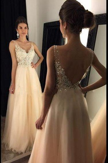 2017 Custom Made Chiffon Prom Dress,Sexy Deep V-Neck Evening Dress,Beading Party Gown, Floor Length Backless Pageant Dress,High Quality