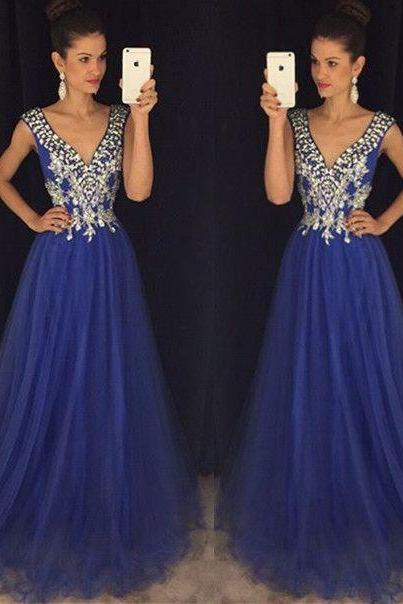2017 Custom Made Royal Blue Prom Dress,Sexy V-Neck Evening Dress,Floor Length Beaded Party Dress,High Quality